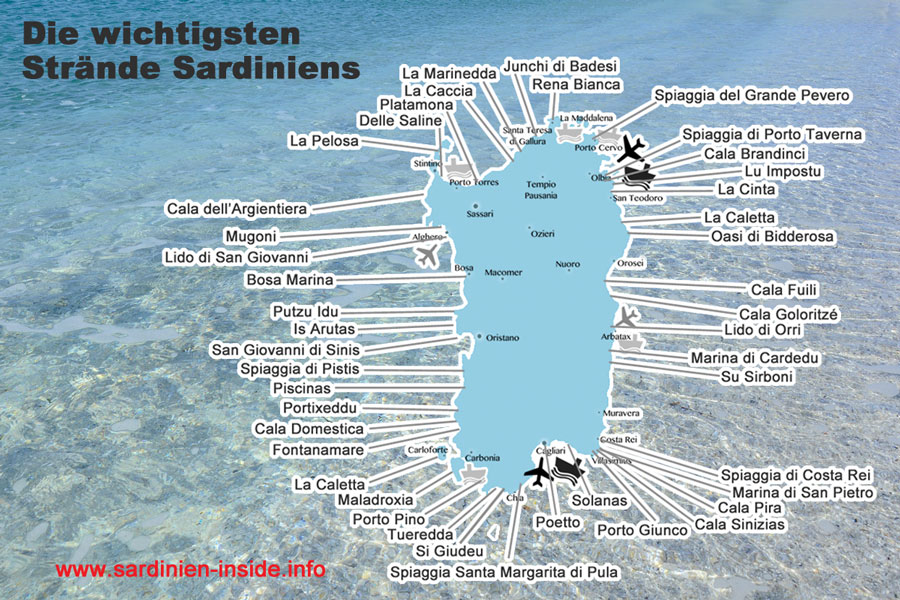 Karte Sardinien Strände.Karte Sardinien Www Sardinien Inside Info
